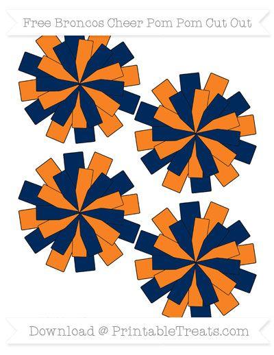 Small Broncos Cheer Pom Cut Outs | Denver Printables