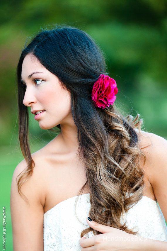 Hot Pink Hair Clip Chiffon Flower Fuschia Hair door HandMadeBloom, $18.00