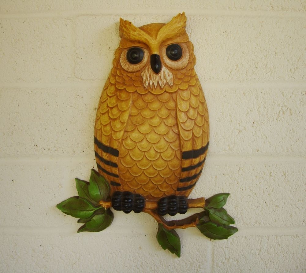 Retro daddy owl wall hanging kitschy large vintage wall decor