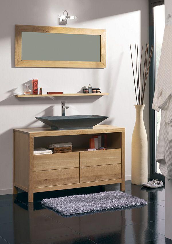 Salle de bains STONE Chêne huile et pierre naturelle   de chez