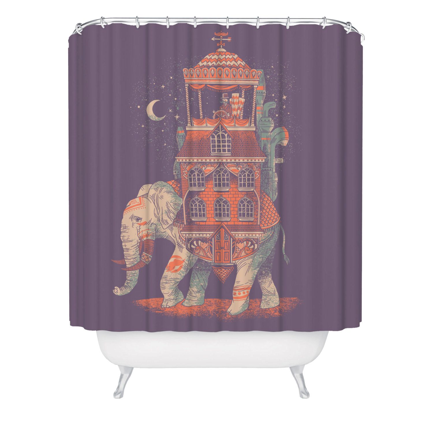 Elephant Shower Curtain Trunk Of Treasures Beautiful Animal Made In USA