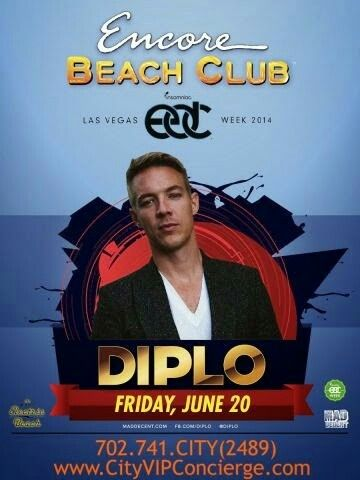 Diplo at Encore Beach Club Las Vegas Friday June 20th. Contact 702.741.CITY(2489) City VIP Concierge for Cabana, Daybed, Bungalow reservations and the Best of Any & Everything EDC Las Vegas!!! #EDCLasVegas #EDC2014 #EncoreBeachClub #VegasCabanas.com #CityVIPConcierge **CALL OR CLICK TO BOOK** http://www.cityvipconcierge.com/las-vegas-pools-cabanas.html