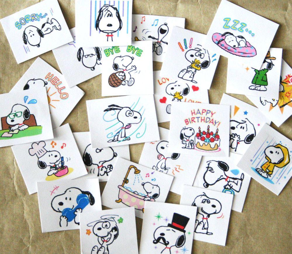 25 x Snoopy Peanuts Stickers Sticker Decorative School Books Diaries 3-4 cm
