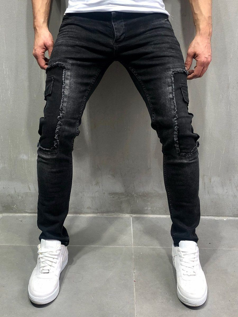 Distressed Jeans Patched Cargo Pockets  Black is part of Jogger jeans -  PRODUCT DESCRIPTION Sure to be one of your favorites, our pantsare the missing component that you were looking for to add to your everyday style collection  This is a blend of street and modern fashion We encourage you to get it today before it's sold out and you will have to wait 5 weeks before we restock the in