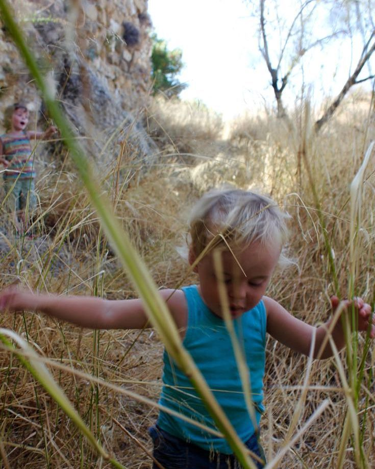 Boys exploring in the old castle ruins in the knee high grass #exploring #toddlers