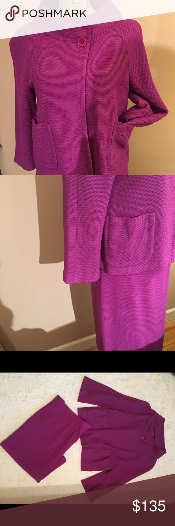 St John suit. Purplish color St John skirt w elastic,  size 8, jacket size 8 w one button st collar, two front pockets, 3/4 sleeves. Good condition.  No knits or stains. St. John Other