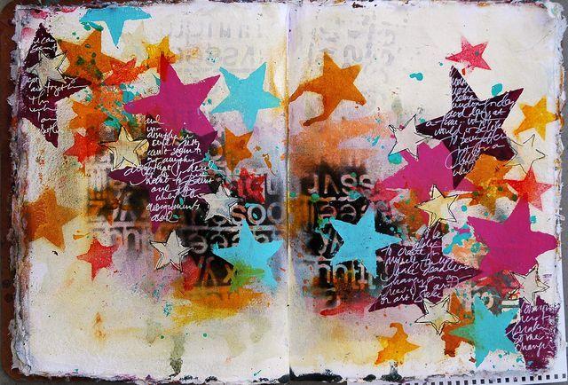 Dina Wakley Art Journal - love all the bright stars!