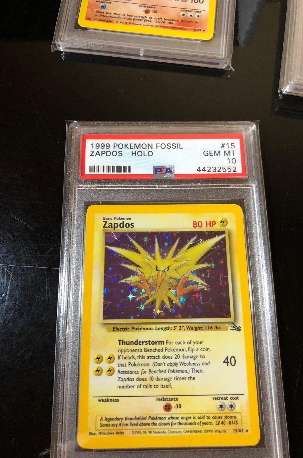 Psa 10 fossil zapdos holo error pokemon trading card