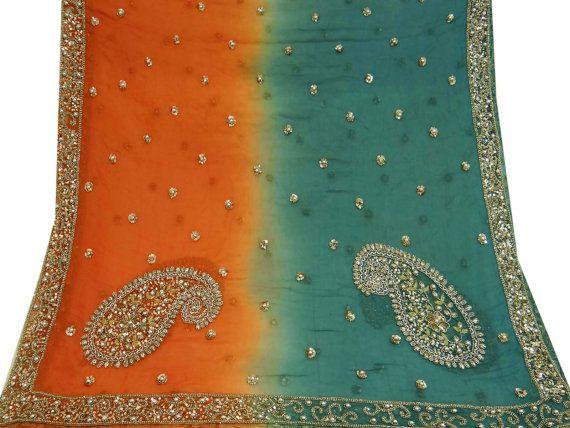 Vintage Long Scarf India Dupatta Embroidered Orange by VintageHaat