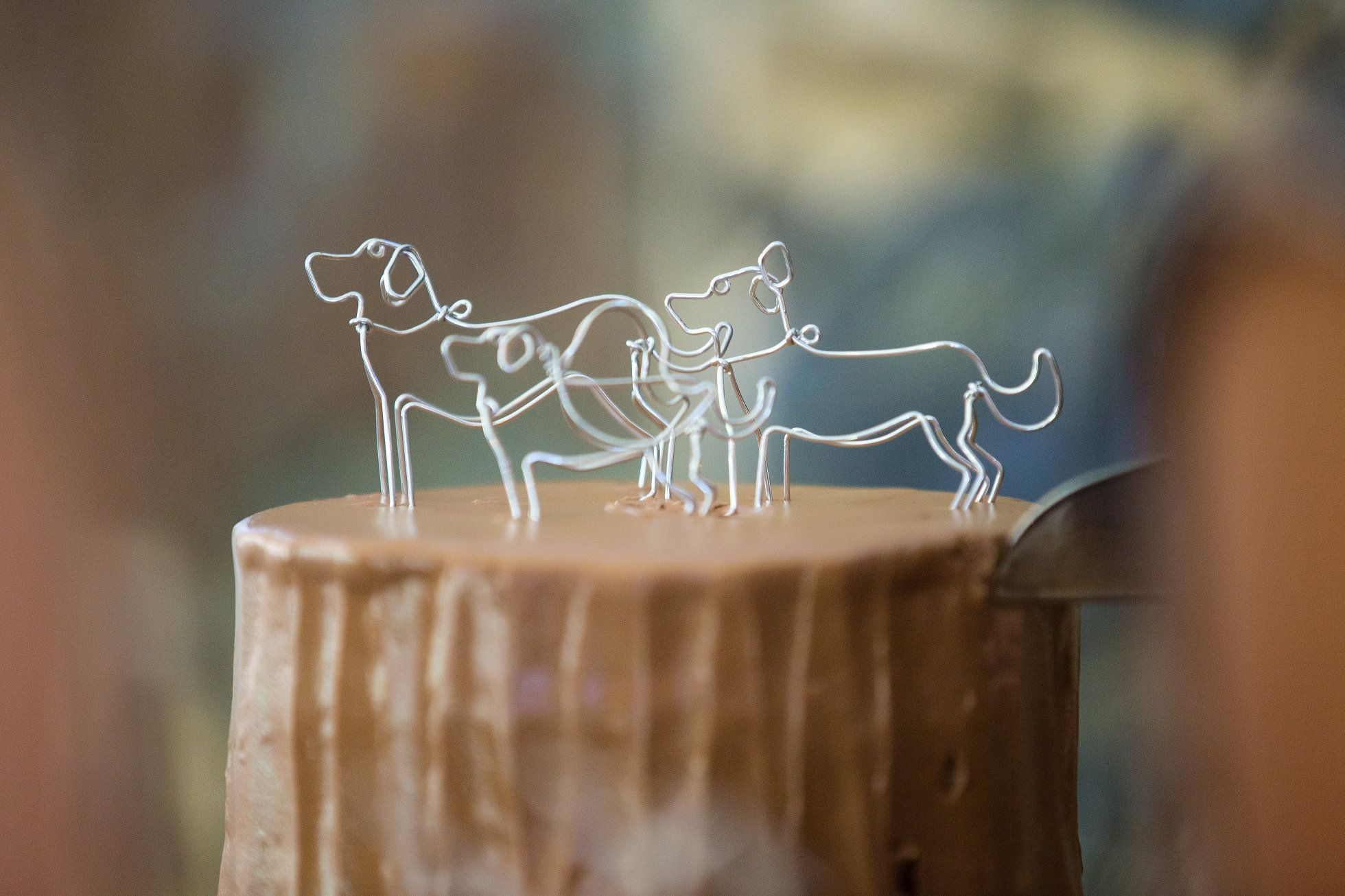 Wire dog cake topper detail tyler arboretum wedding by ashley