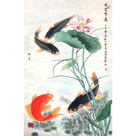 peinture à l'encre de chine papier peint photo haute definition les carpes dans l'étang avec ...