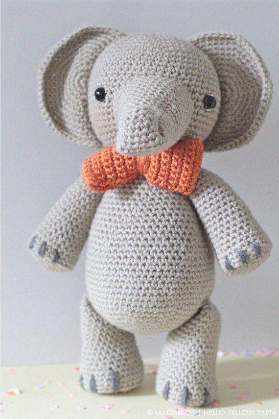 Crochet Amigurumi Elephant PATTERN ONLY by HelloYellowYarn on Etsy ...