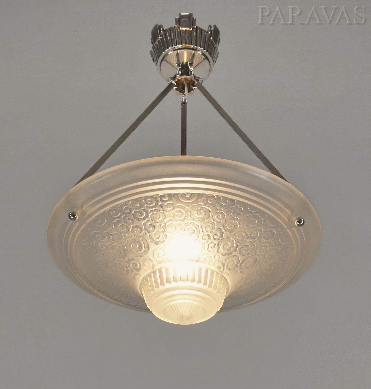 Muller Freres French 1930 Art Deco Chandelier Set Of Three Paravas Ebay Art Deco Chandelier Art Deco Lamps Art Glass Table Lamp