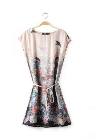 Fashoin Enchating Dignified Satin Cashmere round neck Sleeveless Print Flowers Bandage FASHION DRESSES
