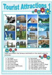 English Worksheets: TOURIST ATTRACTIONS 1 | Educacion