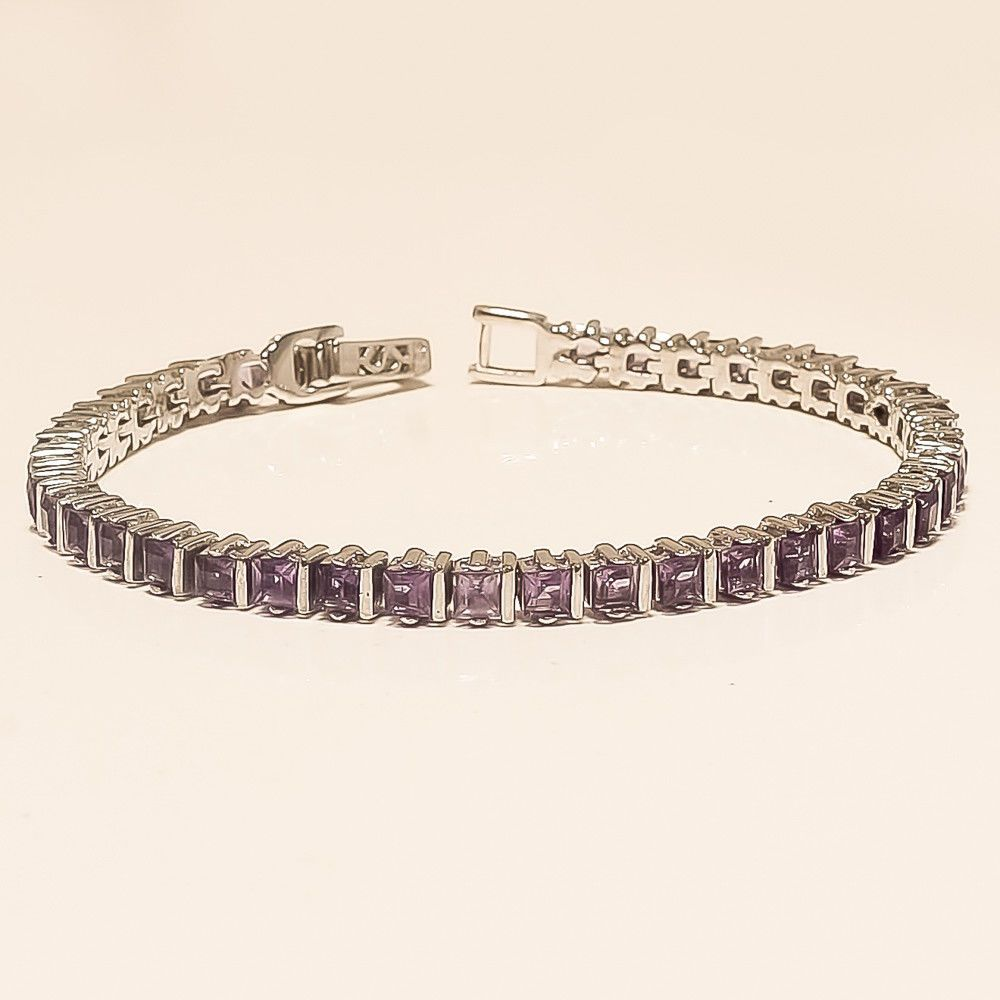 Natural Panorama Green Amethyst Tennis Bracelet 925 Sterling Silver Jewelry Gift Jewelry & Watches