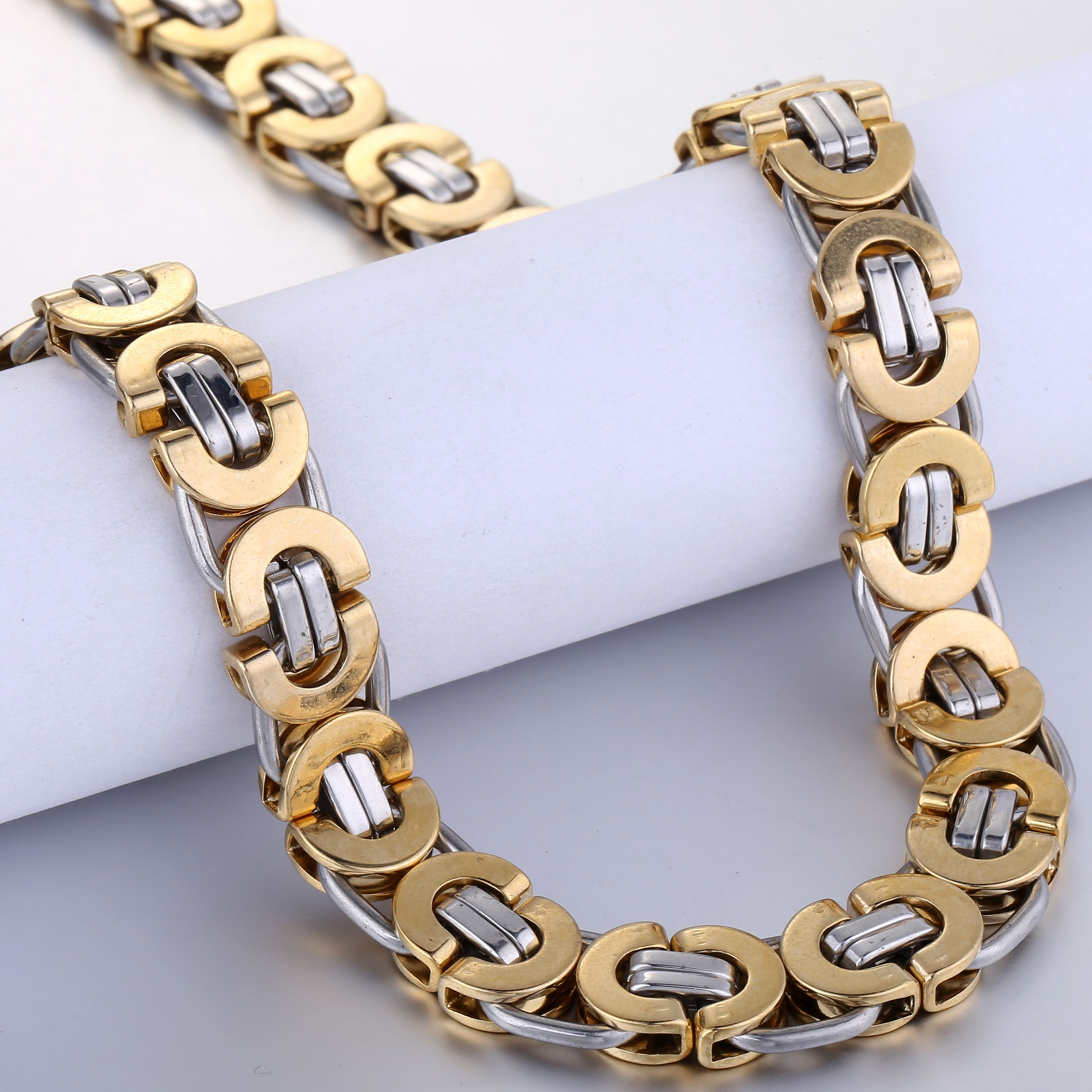 Davieslee Flat Byzantine Stainless Steel Necklace Chain For