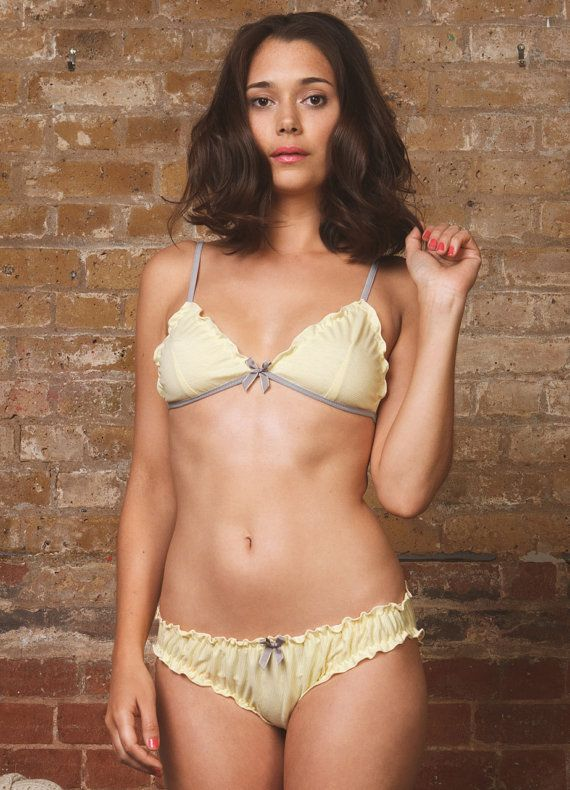a2fa7e4381 Yellow Stripe Soft Bra and Panty Lingerie set 100% Cotton on Etsy ...