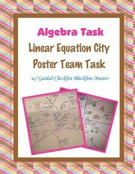 Algebra Team Task Linear Equations City Poster Algebra Projects School Algebra Teaching Algebra