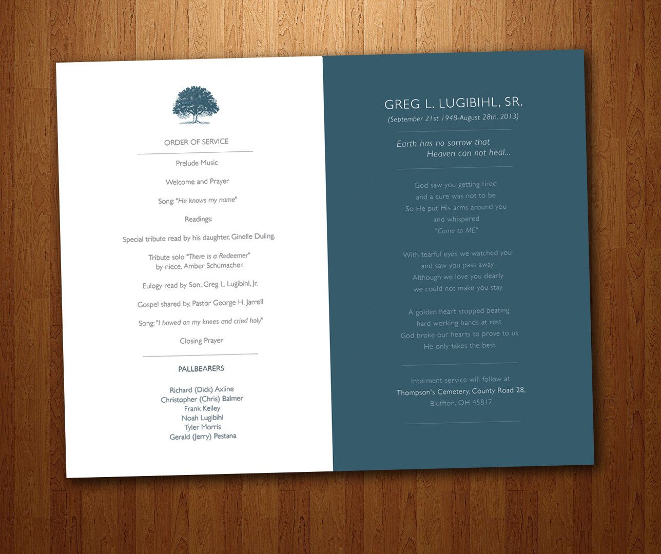 Funeral Program For Memorial Order Of Service Pdf Printable By Huntersplace On Etsy Https