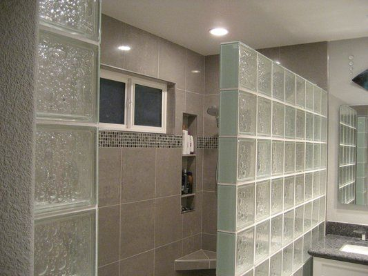 glass block walls in bathrooms | Uploaded from Mobile