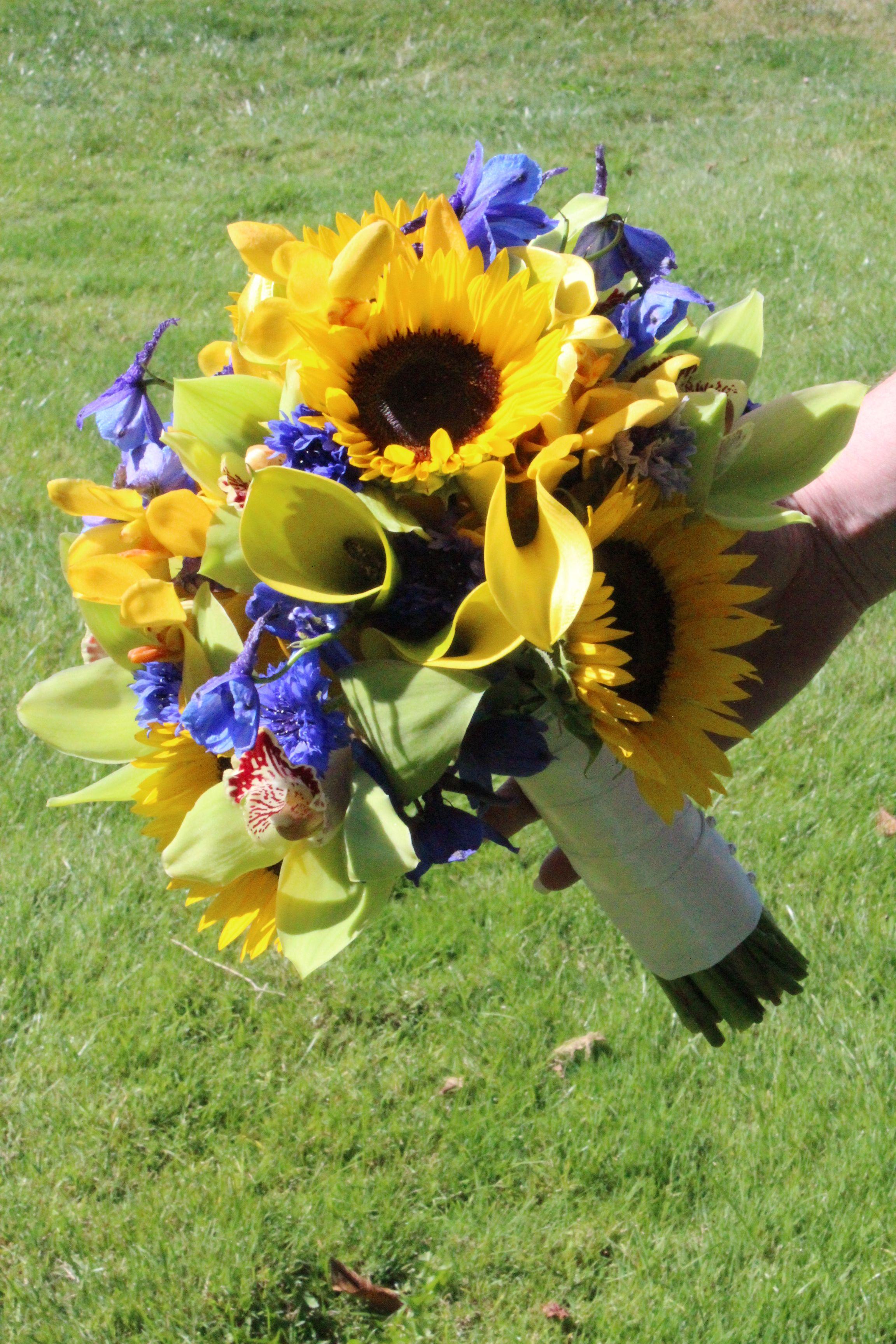Yellow wedding flowers yellow blue delphinium and green yellow wedding flowers yellow blue delphinium and green wedding bridalbouquet mightylinksfo