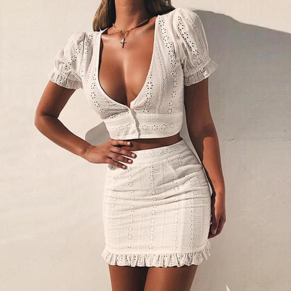 EFINNY White Two Pieces Set Women Solid Tight Crop Top Sexy Package Hip Skirt Women Clothing 2