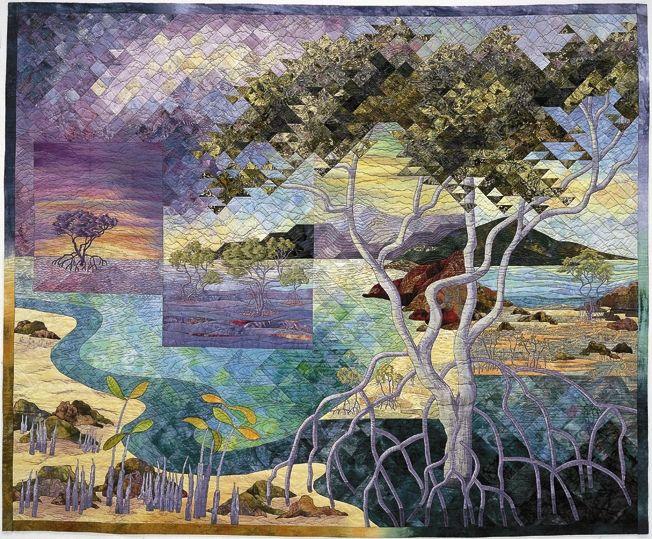 Lightening On Deep Blue Cotton Naturescape Landscape Fabric Art Quilting