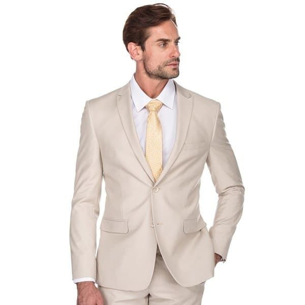 b4bfdf41af Shop Porto Filo Men's 2 Piece Slim Fit Suit (Brown, Tan, Bone, Beige) -  Free Shipping Today - Overstock - 26483698 - 44R - Bone