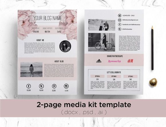 floral media kit template by chic templates on