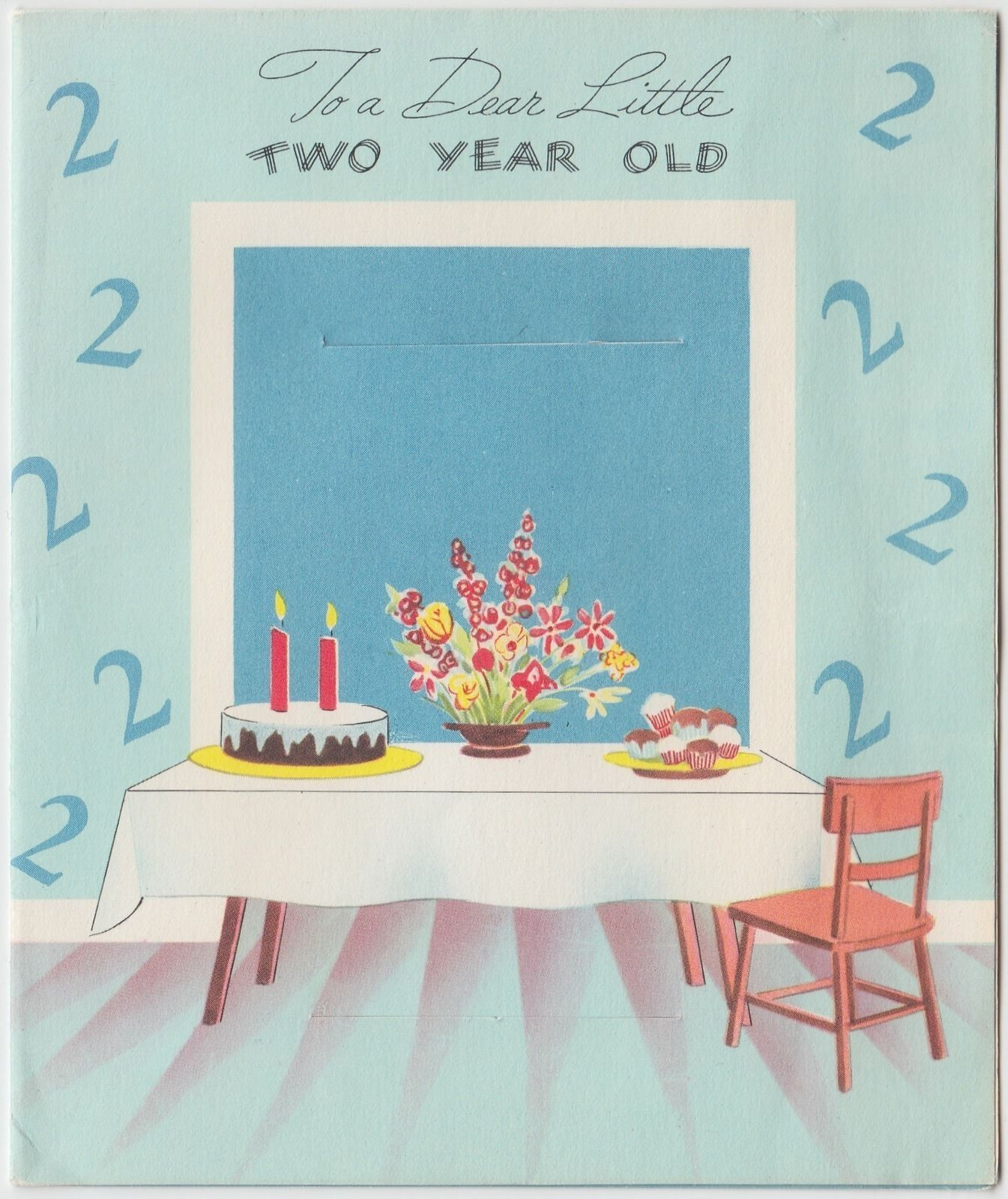 Vintage Greeting Card Birthday Cat Kitten Paper Doll Uncut Two 2