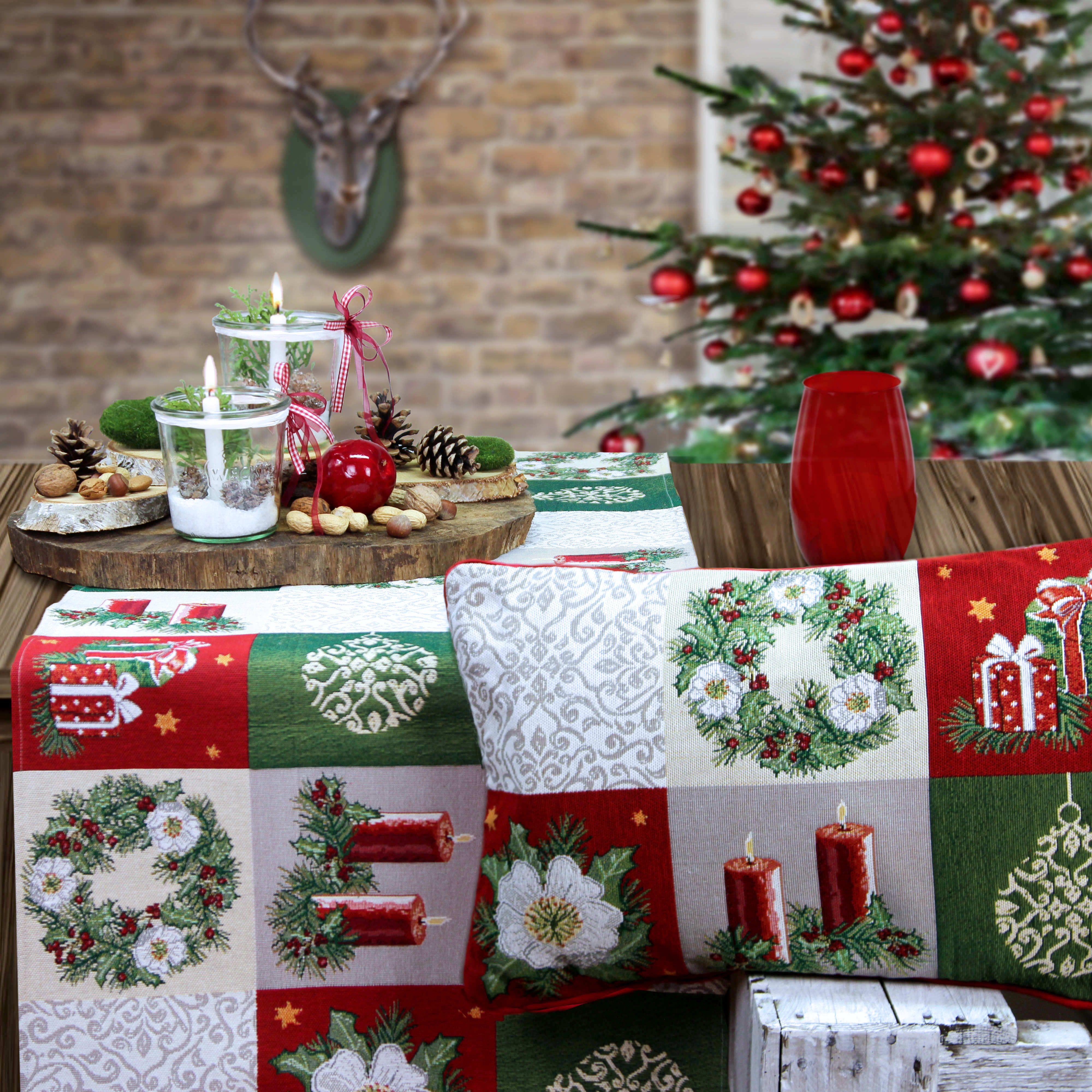 weihnachtstischdecke und weihnachtskissen online shoppen. Black Bedroom Furniture Sets. Home Design Ideas