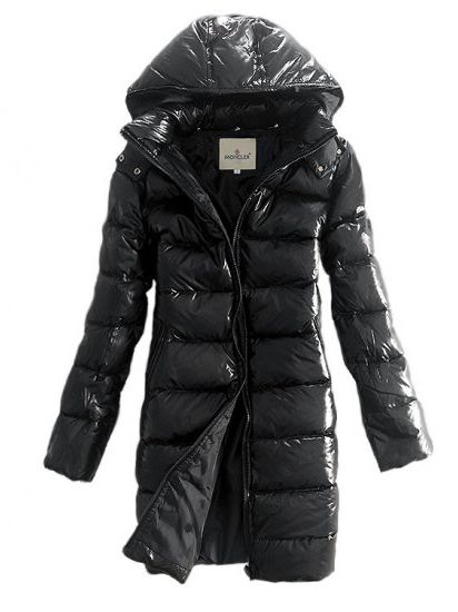Buy Moncler Women Moka Hooded Long Down Coat Black Quilted