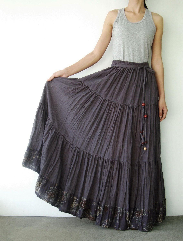 e203f771d4 NO.25 Grey Cotton, Hippie Gypsy Boho Tiered Long Peasant Skirt | <3 ...