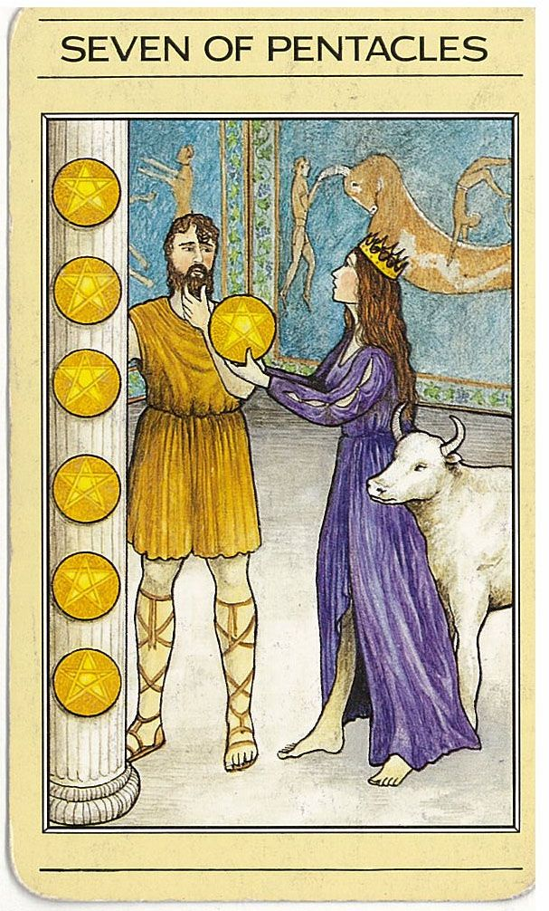 7 Of Pentacles The Mythic Tarot = A Difficult Work