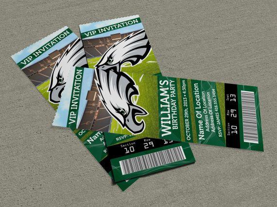 Philadelphia Eagles Birthday PartyEvent Ticket Invitation 25 x