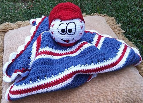 Crochet Baseball Cuddle Blanket, Lovie, Snuggie pattern by Lulu Bebeblu