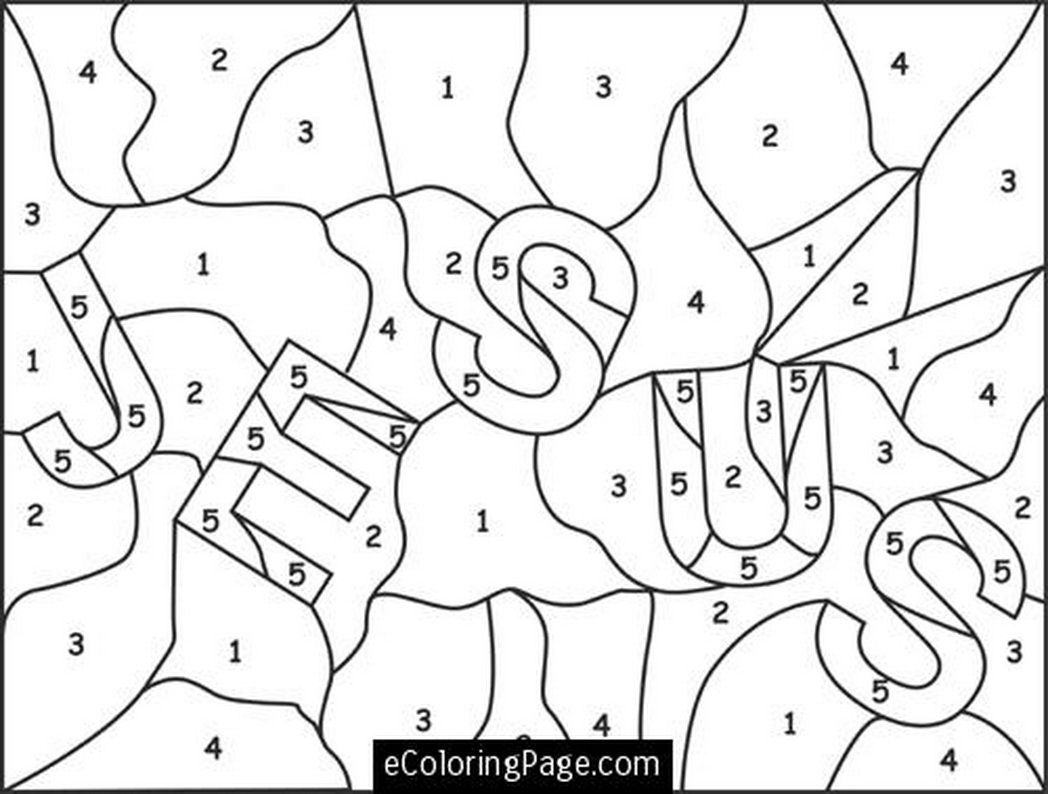 Jesus Color Numbers Coloring Page For Printable