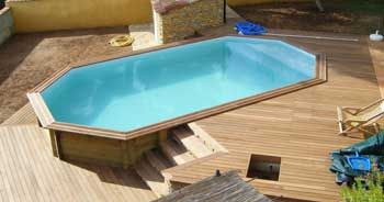 Piscine bois ovale semi enterree piscine pinterest for Construire sa piscine bois