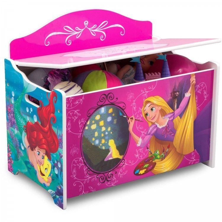 Princess Toy Box Bench Combo Playroom Furniture W Slow Closing Safety Hinge Disney Wood Toy Box Princess Toys Disney Princess Toys