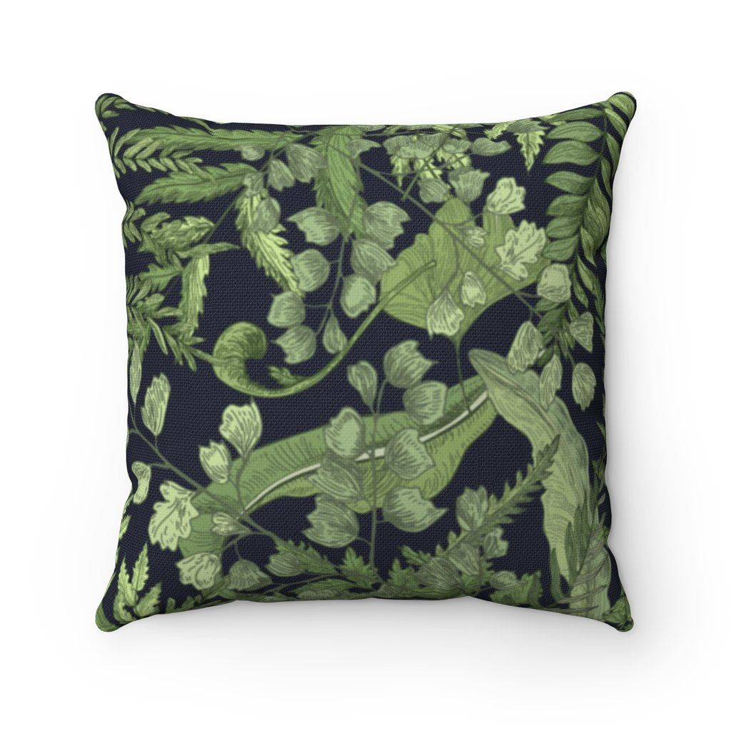 Organic Garden Green Fern Leaves Throw Pillow Cover - 16 x 16