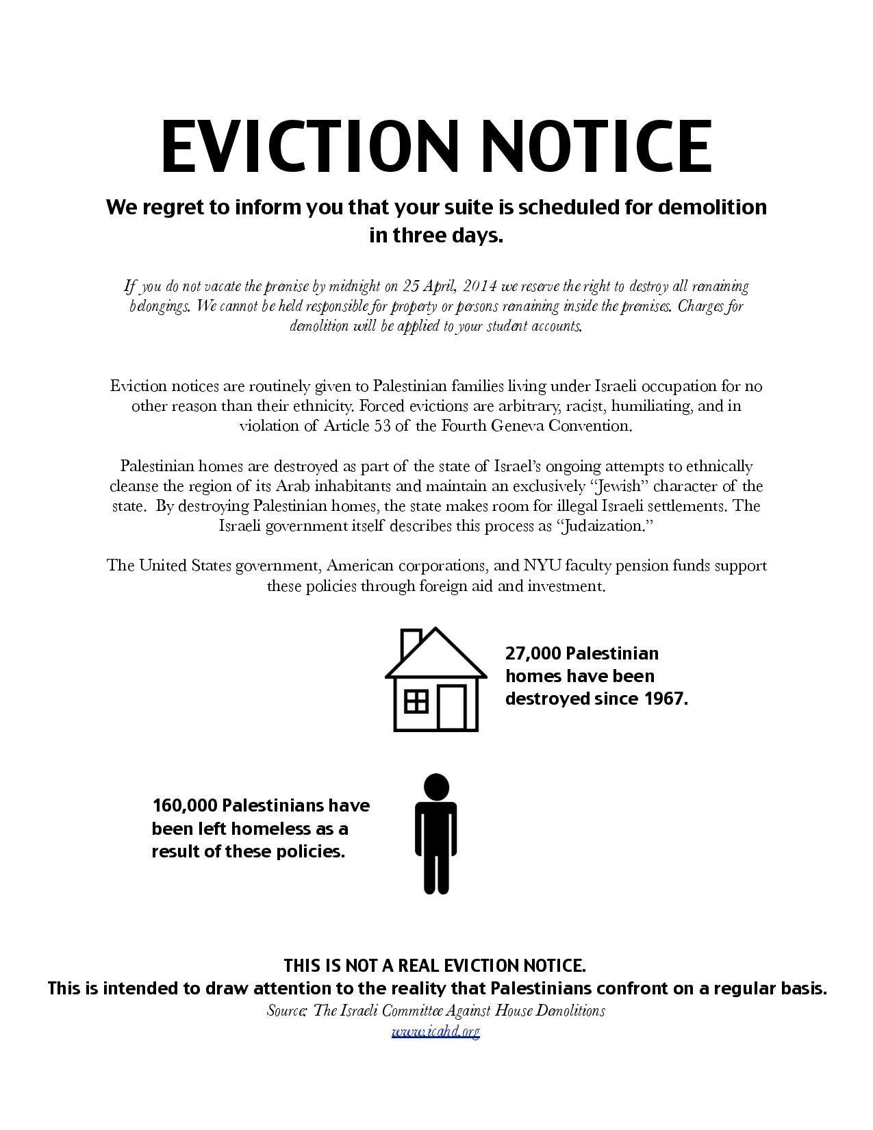 Statement regarding NYU SJPs mock eviction notice action – Eviction Notice Letter