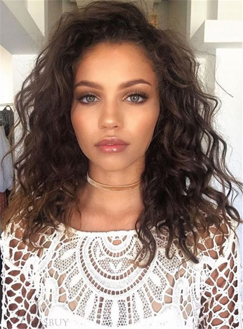 Brown Fluffy Messy Soft Natural New Arrival Sweet Synthetic Hair Lace Front Curly Wigs 16 Inches Hair Lengths Medium Length Hair Styles Shoulder Length Curly Hair
