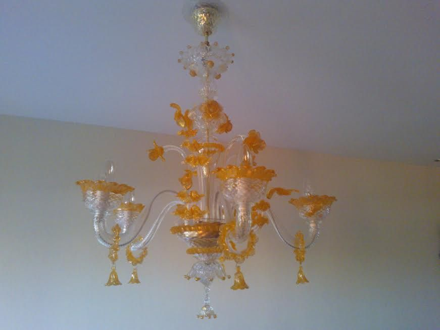 FROM UK Apollo Chandelier Crystal Orange And Gold In MuranoGlass - Orange chandelier crystals