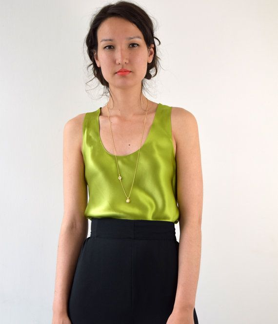 4efa33a2d846c9 Olive Green Silk Satin Camisole Vest Tank Top by KimCleaver ...
