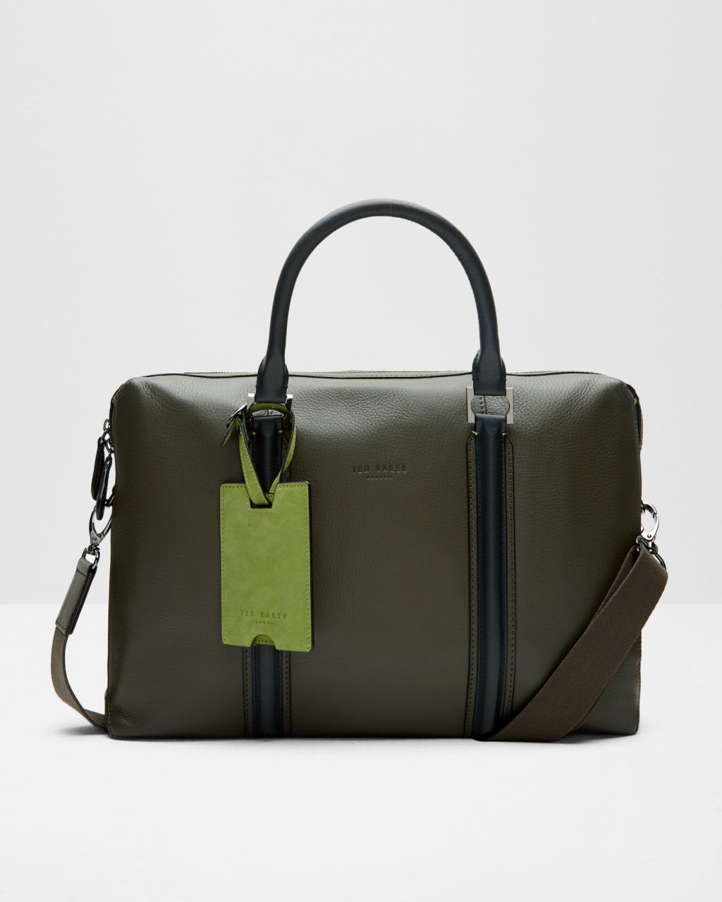 Green leather document bag by Ted Baker