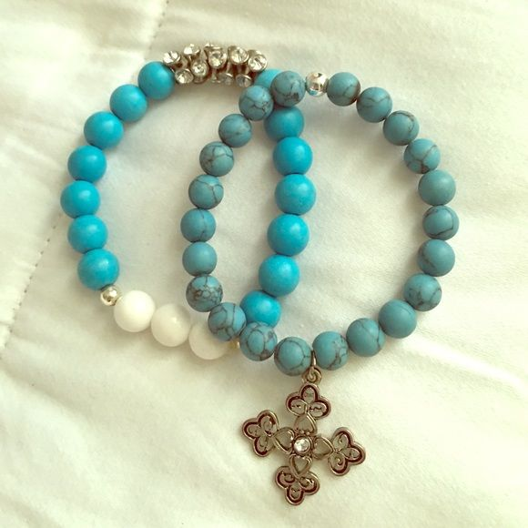 Turquoise beaded bracelet set Set of two beaded bracelets. Jewelry Bracelets