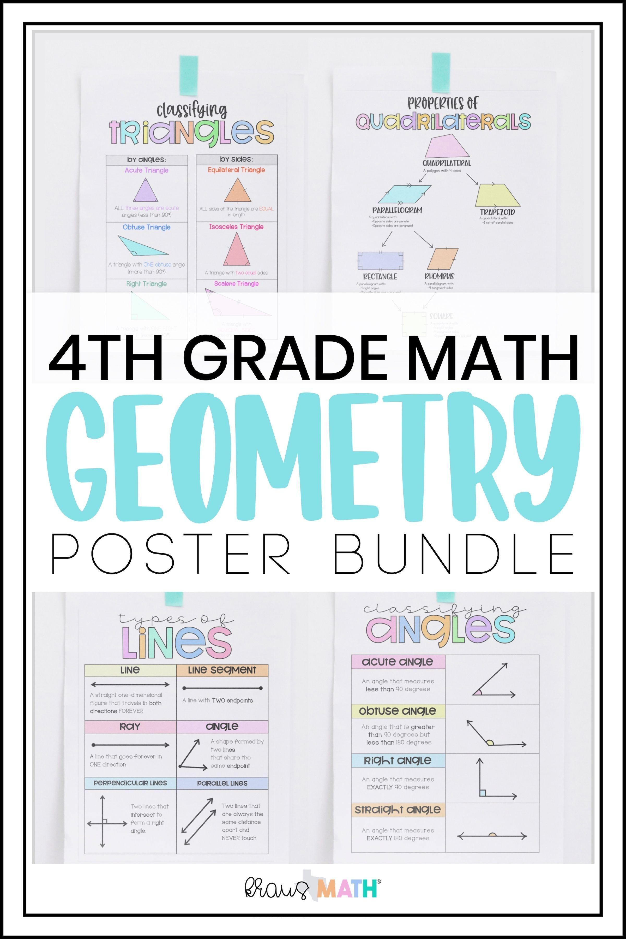 4th Grade Math Posters Geometry Bundle Kraus Math In 2020 4th Grade Math Elementary Math Math Facts