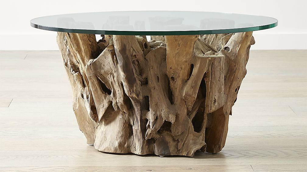 Driftwood coffee table with round glass top driftwood
