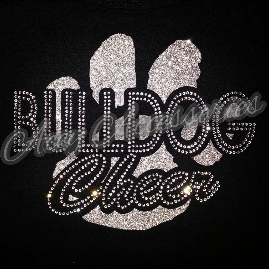 Cougar Panther Outline Mascot Design Iron on Rhinestone Transfer Bling Applique